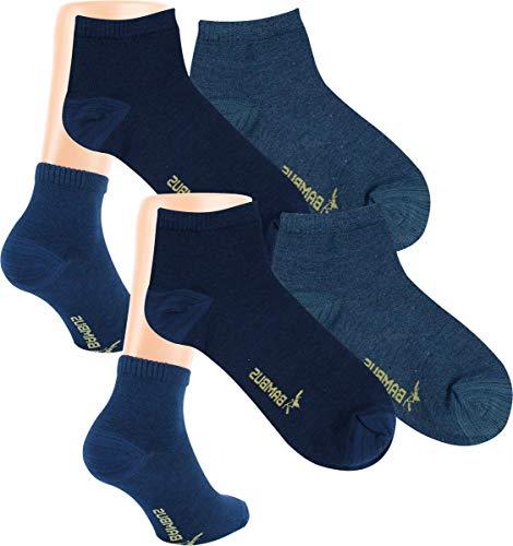 RS. Harmony | Kurzsocken | Bambus Super Weich Atmungsaktiv | 6 Paar | mittel-dunkel-jeans, marine-melange | 39-42