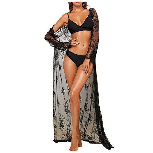 WUSIKY Damen Dessous Spitze New Sexy Fashion Robe Nachtwäsche Unterwäsche Dessous Mit Satin Seidengürtel Cosplay Kostüm Verführerische Hipster Nachtwäsche Erotik Schwarz XXL