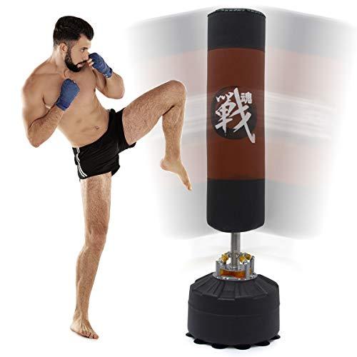 EYEPOWER 175 cm Boxsack - Profi Dämpfung - MMA Standboxsack für Erwachsene mit Feder und Saugfuß