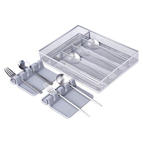 Metal Mesh Cutlery Tray 5 Compartments, Kitchen Drawer Organiser with 2...