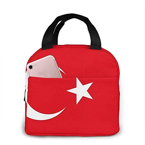 Lunch Bento Bento Bento Bag, Turkse vlag, herbruikbare draagtas, warme en koele gerechten