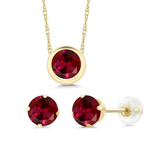 Gem Stone King 3.00 Ct 6mm Round Red Created Ruby 14K Yellow Gold Pendant Earrings Set