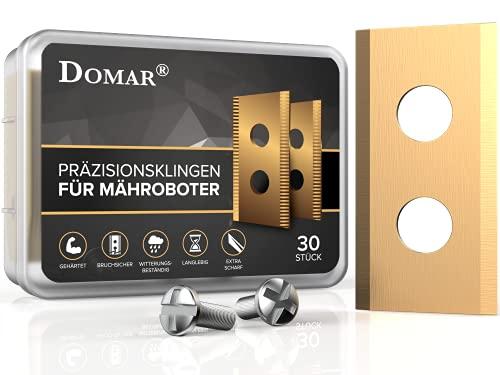 DOMAR® - Cuchillas duraderas Worx Landroid con tornillos I Cuchillas mejoradas especialmente para robot cortacésped de Worx Landroid, Landxcape, Einhell I 30 cuchillas de repuesto