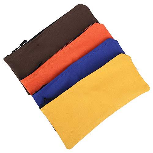 Zwindy Schreibwaren | 4Pcs/Set Multifunktionale Leinwände Werkzeugtasche Bleistiftbeutel Aufbewahrungskoffer mit Reißverschluss für Erwachsene Kinder, langlebig, tragbar.