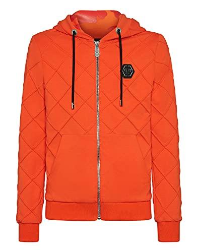 Philipp Plein Herren Hoodie Sweatjacket Camouflage Orange Large
