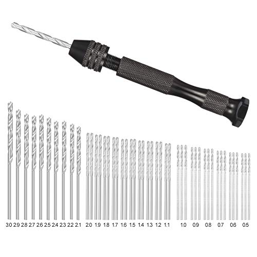 rainday Precision Pin Vise Hand Drill with Twist Bits Set of 49, Professional Swivel Head Pin Vise for Delicate Manual Work, Electronic Assembling and Model Making, Drilling Holes(0.5-3.0mm Bits)