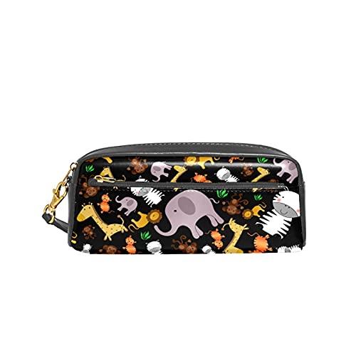 Estuche para lápices con diseño de animales de safari de la selva negra para niños, bolsa de gran capacidad para maquillaje, cajas de cosméticos, bolsa de viaje de oficina
