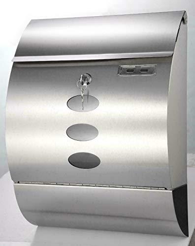Premium Briefkasten Edelstahl | Boston | satiniert Postkasten Brief | Post Kasten mit integriertem Zeitungsfach und Sichtfenster | 30 x 12 x 40 cm | gebogene Design Form