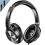 VOGEK Over Ear Headphones with Mic, Stereo Bass Wired Earphones, Portable Lightweight Foldable Headsets with 1.5M Tangle Free Cord and Microphone for Cellphone Tablet Laptop Computer, Black