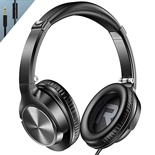 Vogek Over Ear Wired Headphones with Microphone and Noise Isolating, Folding Lightweight Headsets with Deep Bass and Tangle-Free Cord for Cellphones Smartphones Laptop Computer Chromebook, Black