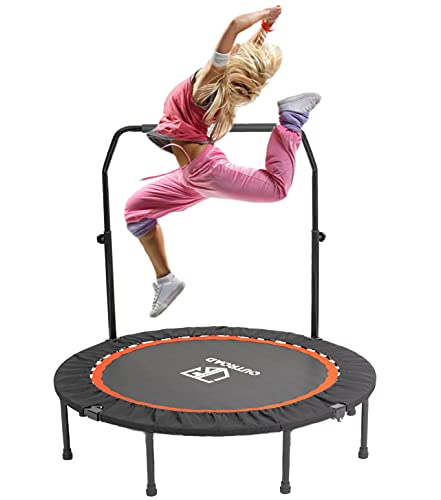 PanAme Mini Trampoline Fitness Rebounder 40 inch with Adjustable Handrail Safety Padded Cover for Adults & Exercise Workout Indoor or Outdoor