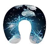 CIKYOWAY Almohada Viaje,Feliz Navidad Nochevieja Regalo de año Nuevo Bola de Plata Copo de Nieve Azul pálido Brillante,Espuma de Memoria cojín de Cuello,Soporte de Cuello para Viaje Coche