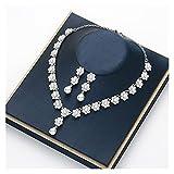 TYUTYU Collar Accesorios de Dama de Honor de Oro Vestido de Novia Vestido de Novia Rhinestone Pendientes de Perlas (Metal Color : Gold-Color)