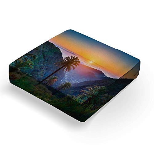 "Amazing tropical scenery with palm trees and mountains at sunsetOutdoor Indoor Seat Cushion Patio Deep Seating Lounge Chair Conversation Cushion Large Size Replacement for Furniture - 25""x25""x5"""