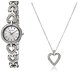 Swarvoski Crystal Stainless Steel Bracelet Watch with Heart Pendant Necklace