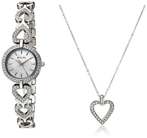 Bulova Women's 96X136 Swarvoski Crystal Box Set with Heart Pendant Necklace