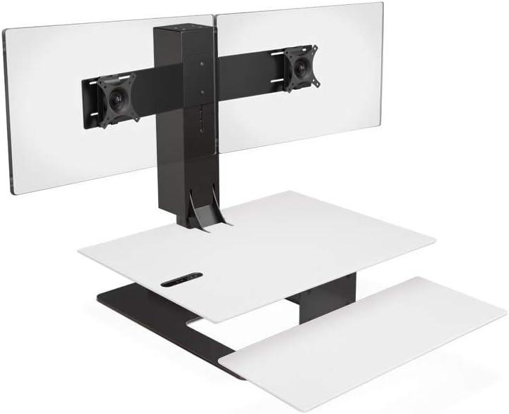 UPLIFT Desk - E7 Electric Standing Desk Converter with White Desktop and Black Base (Dual Monitor)