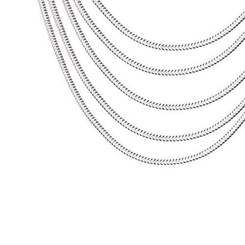 Catena a serpente in metallo placcato argento 925, 5 pezzi per gioielli fai da te, colore: argento