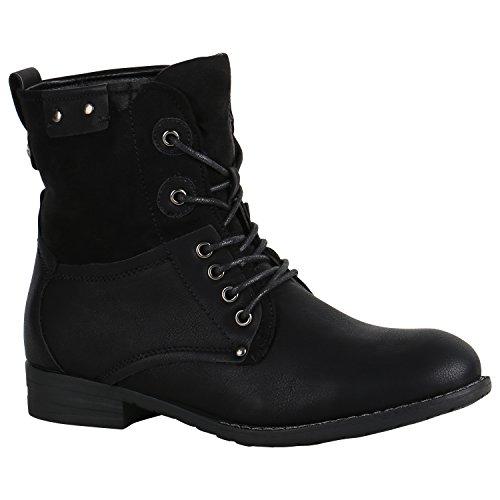 stiefelparadies Damen Stiefeletten Schnürstiefeletten Leder-Optik Schuhe Basic Boots Klassische Schnürboots 151503 Schwarz Autol 36 Flandell