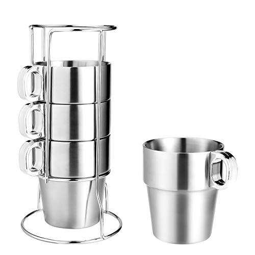 Wilxaw Juego de 4 Tazas de Café Acero Inoxidable, Taza de Té Apilable de Acero Inoxidable con Soporte, 10 oz / 300 ml