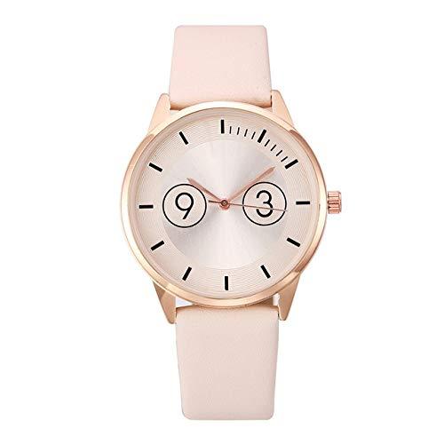 SUZHENA Reloj Estilo Adolescente Círculo Lindo Patrón Digital Relojes de Mujer Simples Minimalismo Mecanismo de Reloj destacado, Beige, Talla única