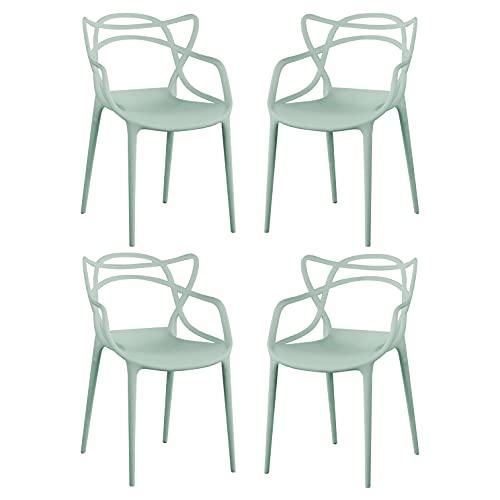 Milani Home s.r.l.s. Set di 4 Sedia in Polipropilene Plastica Verde di Alta qualità di Design per Interno E Giardino Stile Moderno per Sala da Pranzo, Cucina