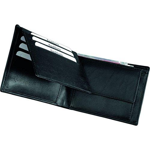 Alassio Portefeuille Format Paysage en Cuir Nappa Fin, env. 12 x 9 x 2 cm, Porte-Monnaie 12 cm, Noir