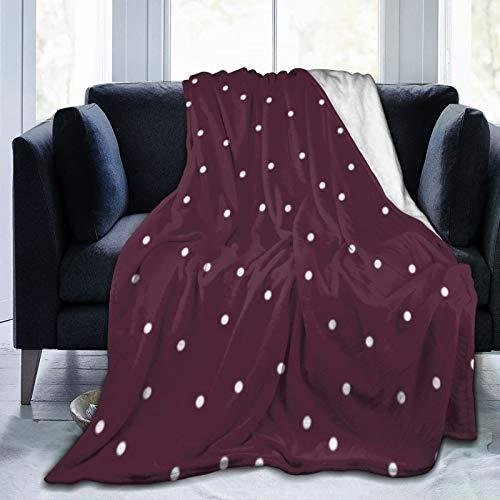 Bernice Winifred Manta de Microfibra Ultra Suave con patrón de Confeti de Puntos al Azar Granate y Blanco Hecho de Franela Anti-Pilling, más cómoda y cálida.60x50