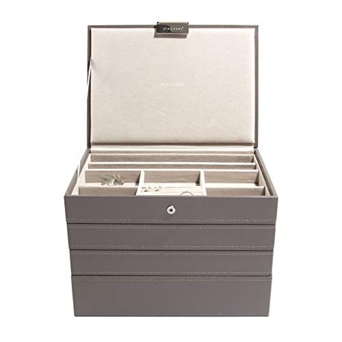 Carters of London 5013648014167 STACKERS /'CLASSIC SIZE/' Duck Egg Blue Lidded STACKER Jewelry Box with Gray Polka-Dot Lining