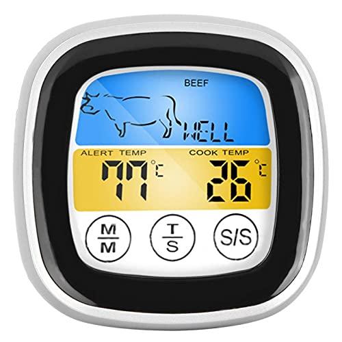 Drahtloses Fleischthermometer Digitaler elektrischer Lebensmittelthermometer-Touchscreen mit Timing- und Alarmfunktion, Anzug zum Grillen in der Küche Rauchen Rauchen Grillofen