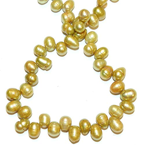 Green Pistachio 9mm Top-Drilled Rice Cultured Freshwater Pearl Bead 15