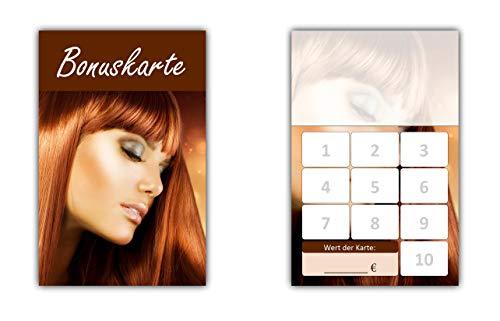 100 Stück Friseur Damen Bonuskarten (BOK-412) mit 10 Stempelfeldern. Treuekarten passend für Bereiche wie Frisör, Kosmetik, Haarpflege