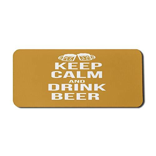 Halten Sie ruhig Computer-Mauspad, trinken Bier Poster Design mit grafischen schaumigen Gläsern Freizeit Spaß Pub-Druck, Rechteck rutschfeste Gummi Mousepad X-Large Gaming-Größe, Amber White