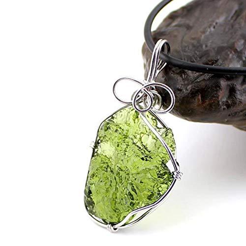 EASTCODE Encantador 100% AAAAA Natural aerolites Moldavita Verde Cristal checo energía + Collar Colgante de Piedra de meteorito Suerte