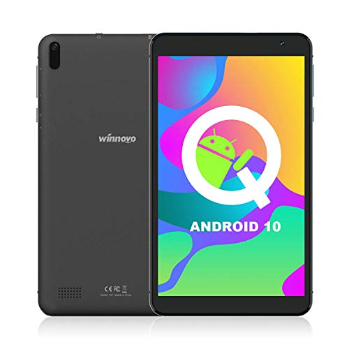 Tablet 7-Zoll WiFi Android 10 - Winnovo TS7 32GB ROM HD IPS Quad Core 5MP+8MP Camera GPS FM Bluetooth Google Verified Metallrahmen (Schwarz)