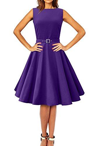 BlackButterfly 'Audrey' Vintage Clarity Kleid im 50er-Jahre-Stil (Leuchtendes Lila, EUR 38 - S)
