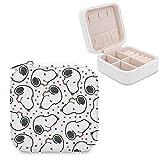 Snoopy - Joyero de piel sintética para viajes, portátil, para collares, pendientes, pulseras, anillos, relojes, expositores, cajas de joyería para mujeres