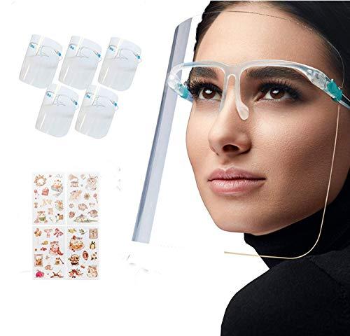5 piezas Pantalla facial Pantalla protectora Gafas protectoras con montura de gafas Mascarilla bucal (envasada al vacío)