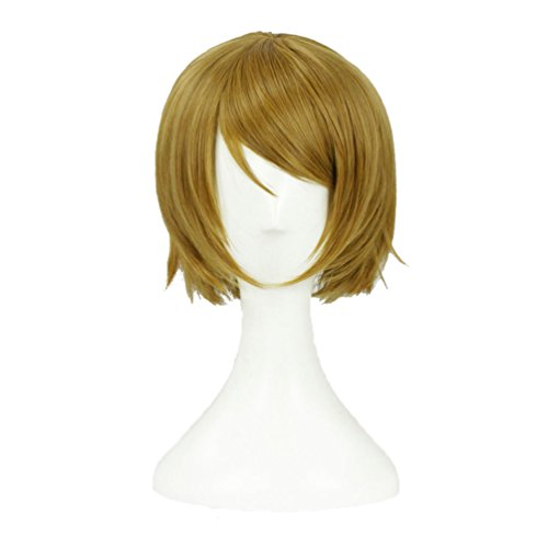 Flovex Short Straight Flaxen Anime Cosplay Wig Sexy Natural Party Blonde Halloween Costume Hair