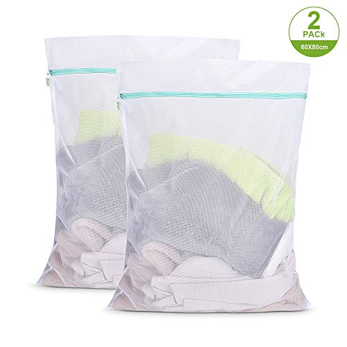 OTraki Mesh Laundry Bag for Delicates 24 x 32 inch Large Wash Bags 2 Pack Strong Zipper College Washing Net for Sweater Dress Garment Blouse Dirty Clothes Washer Protector Travel Dorm Organizer