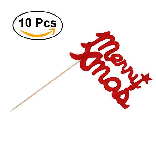 ULTNICE Cupcake Topper Picks per la Decorazione del Partito Nozze Natale 10pcs