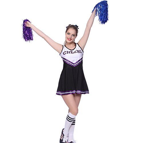 maboobie Tenue Complete Debardeur Jupe a Volant Pom-Pom Girls Cheerleader Noir a Rayures Violettes AV/ 2 Pompons XL (42-44)