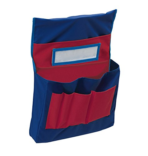 Pacon Pocket Chart, Chair Storage, Blue & Red, 18-1/2'H x 14-1/2'W x 2-1/2'D, 1 Chart