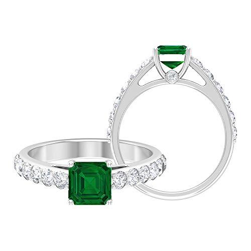 Anillo de compromiso de esmeralda de 2,25 CT creado en laboratorio con acento moissanita, anillo solitario con piedras laterales (6 mm, 14K Oro blanco, Size:EU 57
