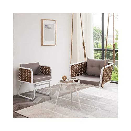 HYYTY-Y Single Outdoor Swing 3-teiliges Set, Hängesessel aus Rattan, Terrassen-Lässiger Nap-Sessel 711-YY