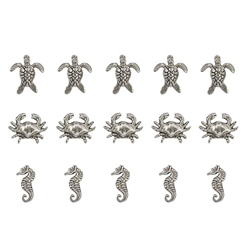 15 DECORATIVE SEA HORSE, CRAB, and TURTLE PUSH PINS,