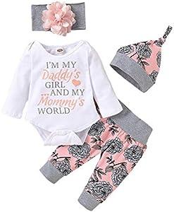 Yuanqu Conjunto de Ropa para niñas bebés, Mameluco para bebés recién Nacidos, Pantalones Florales con Volantes, Conjunto de Ropa para niñas Lindas