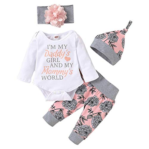 Rlevolexy Newborn Clothes Outfits for Baby, Infant Romper Ruffle Floral Pants Cute Baby Girl Clothes Set