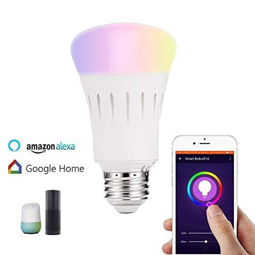 Jiadian Smart lampadina cambia colore, lampadina, luce RGB wireless WiFi compatibile con ALEXA, Google Home Ifttt, no Hub required