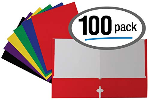 Letter Size Paper Portfolios by Better Office Products, Case of 100, Assorted Primary Colors, (Assorted, 2 Pocket Paper Folders)